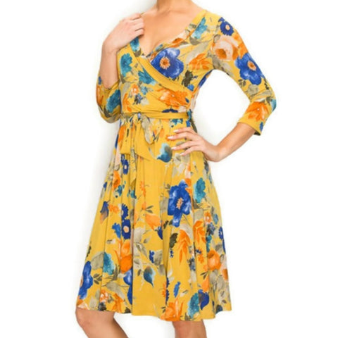 Mustard Blue Floral Faux Wrap Knee Length Dress