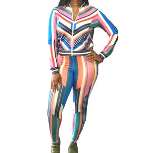 Striped Multi Casual Sexy Activewear Sportswear Jogger Tracksuit