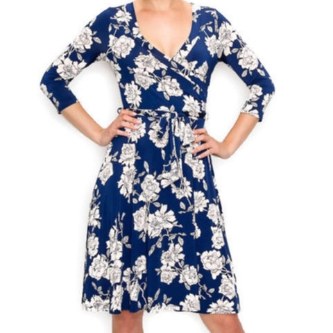 Janette Fashion Navy Blue White Floral Faux Wrap Knee Length Dress