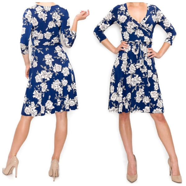 Navy Blue White Floral Faux Wrap Knee Length Dress