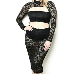 Lace Cut Out Sexy Bodycon Midi Long Sleeve Plussize Black Dress