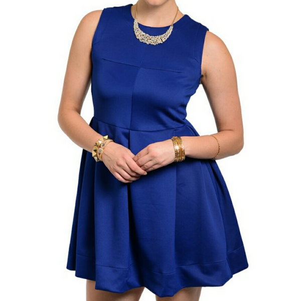 Bellezza Plussize Royal Blue Fit and Flare Skater Casual Dress