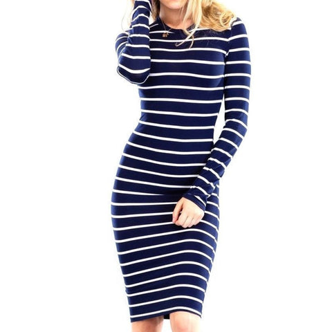 Navy White Stripe Basic Bodycon Sexy Casual Long Sleeve Dress
