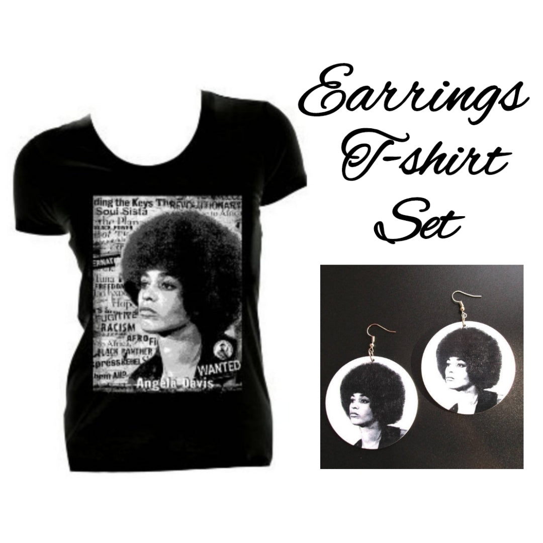 Angela Davis Black Panther Earrings and Tshirt Set