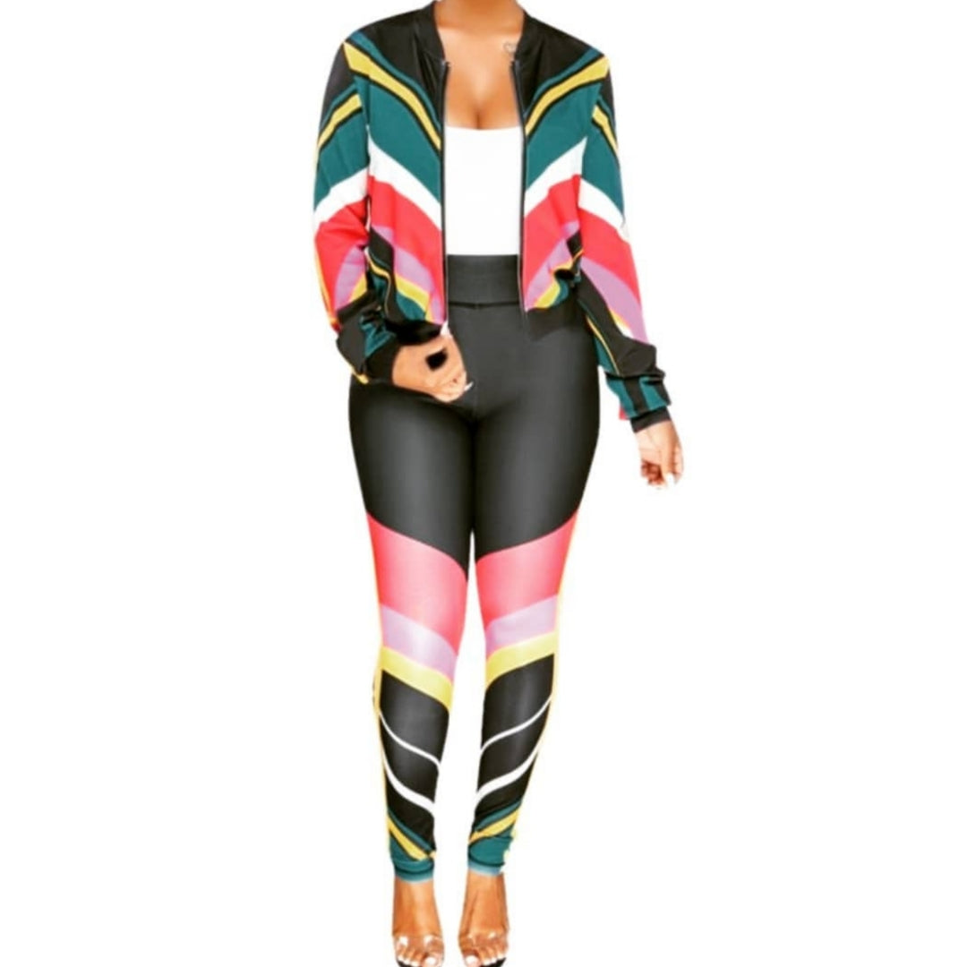 Black Colorful Stripe Casual Activewear Sportswear Tracksuit