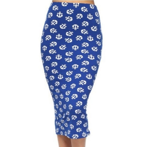 Blue Navy Anchor Hearts Bodycon Casual Pencil Skirt