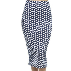 Capella Blue Navy Anchor Hearts Bodycon Casual Pencil Skirt