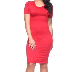 Capella Plussize Red Basic Bodycon Short Sleeve Dress