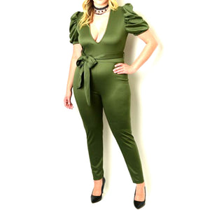 Olive Green Casual Puff Sleeve Plussize Jumpsuit with Belt