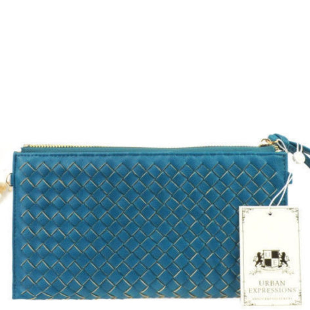 Urban Expressions Vegan Leather Teal Avril Woven Clutch Wristlet Handbag