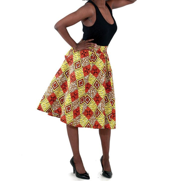 Diamond Pattern Flare African Skirt with Matching Headwrap