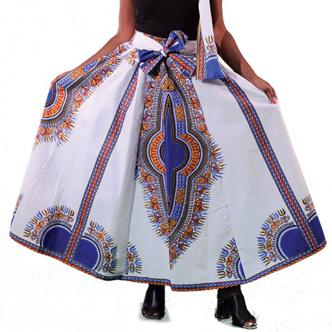 White Blue Traditional Print African Maxi Skirt with Matching Headwrap