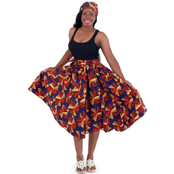 Pinwheel Pattern Flare African Skirt with Matching Headwrap