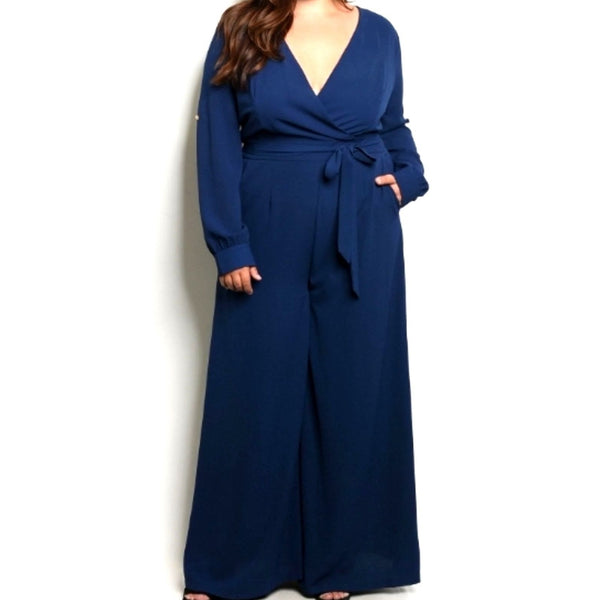 Navy Gold Button Casual Evening Plussize Jumpsuit with Belt