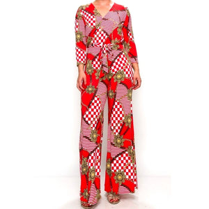 Red Buckle Chain Plussize Jumpsuit with Belt
