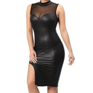 Black Burgundy Sleeveless Bodycon Cocktail Casual Party Dress