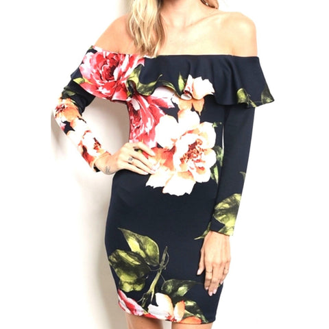 Watercolor Floral Off-Shoulder Bodycon Midi Cocktail Black Dress