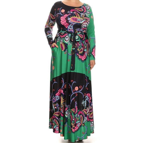 Green Plussize Flare Flowing Silhouette Floral Casual Maxi Dress