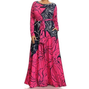 Fuchsia Navy Flare Flowing Silhouette Abstract Print Casual Plussize Maxi Dress