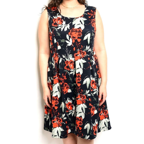 Navy Red Gray Floral Sleeveless Fit Flare Plussize Dress