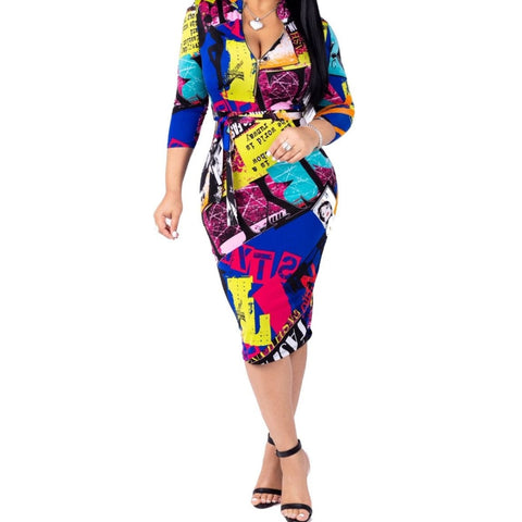 KN Fashion Printed Bodycon Midi 3/4 Sleeve Cocktail Dress