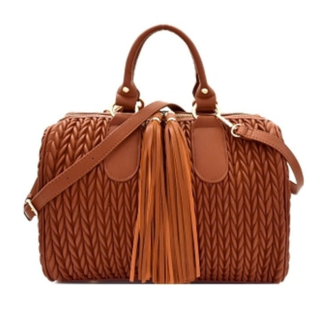 Brown Quilted Tassel Accent Boston Satchel Crossbody Handbag