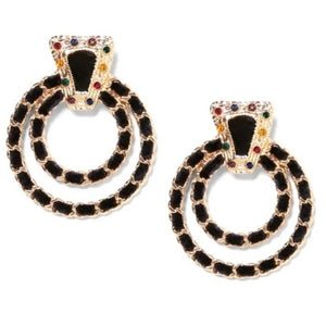 Looped Chain Link Rhinestone Round Dangle Fashion Jewelry Earrings