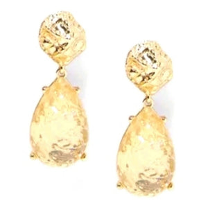 Elegant Evening Gold Tone Teardrop Dangle Fashion Jewelry Earrings