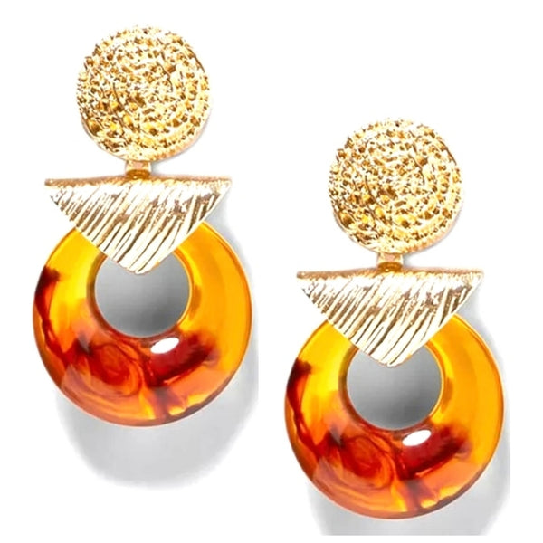 Grand Entrance Amber Gold Tone Dangle Drop Fashion Jewelry Earrings