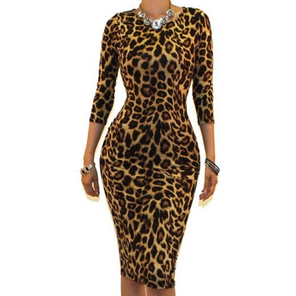 Leopard Print Sexy 3/4 Sleeve Bodycon Party Cocktail Dress
