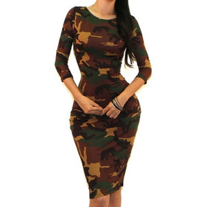 Camouflage Print Sexy 3/4 Sleeve Bodycon Party Cocktail Dress