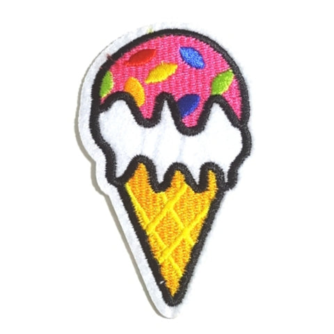 Sprinkle Pink Ice Cream Cone Iron-On Patch