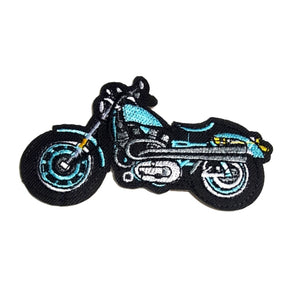 Motorcycle Blue Black Iron-On Patch