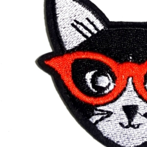 Cat Red Glasses Iron-On Patch