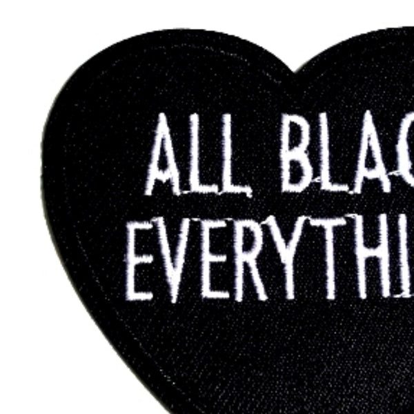 Heart All Black Everything Iron-On Patch