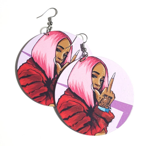 PINK HAIR Dont Care Statement Dangle Wood Earrings