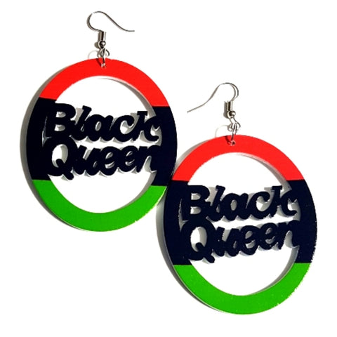 BLACK QUEEN Liberation RBG Statement Dangle Wood Earrings