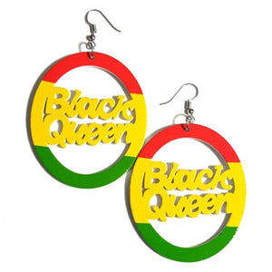BLACK QUEEN RASTA RYG Statement Dangle Wood Earrings
