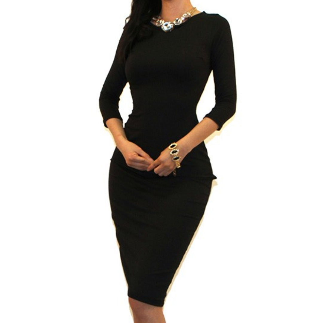 Got Style Black 3/4 Sleeve Bodycon Party Cocktail Dress