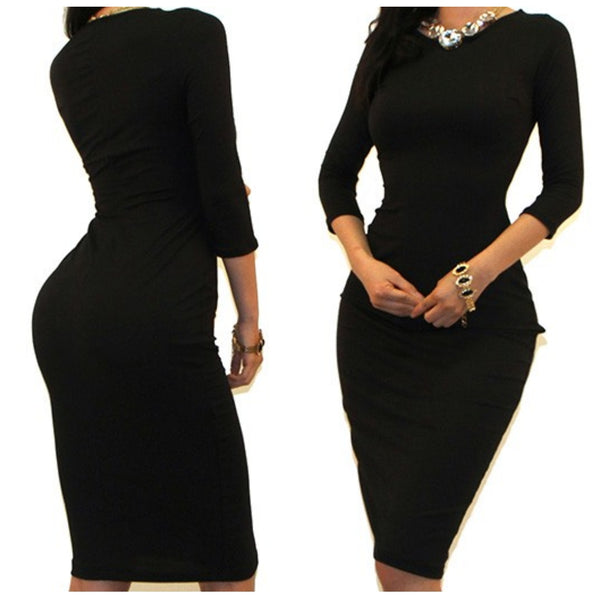 Black Sexy 3/4 Sleeve Bodycon Party Cocktail Dress