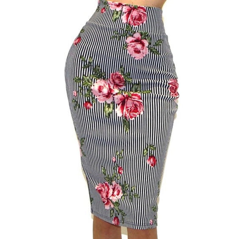 Got Style Navy White Stripe Pink Floral Bodycon Casual Sexy Pencil Skirt