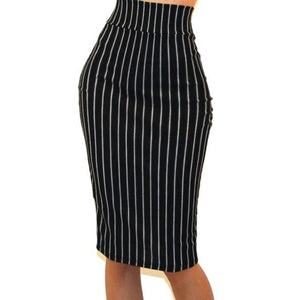 Got Style Black White Pinstripe Bodycon Casual Pencil Skirt