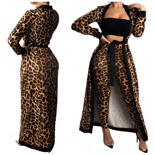 Leopard Casual Sexy Tube Top Jacket Pant Suit