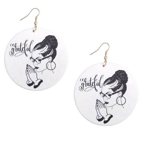 Grateful Queen Statement Dangle Engraved Wood Earrings