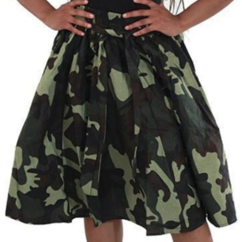 Green Camouflage Flare African Skirt with Matching Headwrap