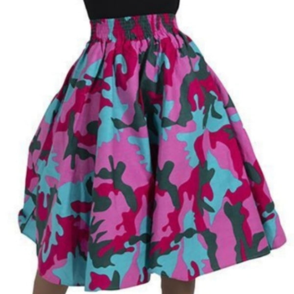 Pink Camouflage Flare African Skirt with Matching Headwrap