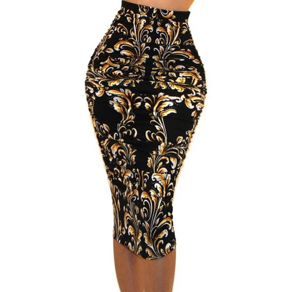 Got Style Gold Black Ruched Frill High Waist Mid Calf Bodycon Casual Pencil Skirt