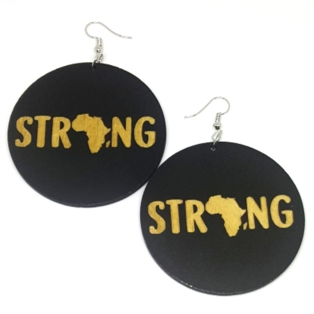 Africa Strong Statement Dangle Engraved Wood Earrings