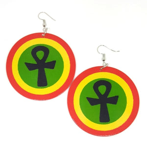 ANKH Rasta Statement Dangle Wood Earrings