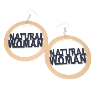NATURAL WOMAN Khaki Black Statement Dangle Wood Earrings